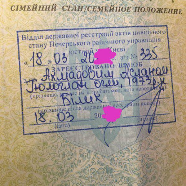 Паспорт Ирины Билык