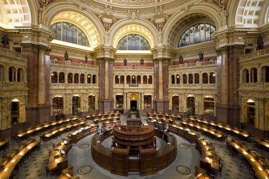 Библиотека Конгресса, Вашингтон, округ Колумбия, - крупнейшая в мире по количеству полок и числу книг (22,19 миллионов)