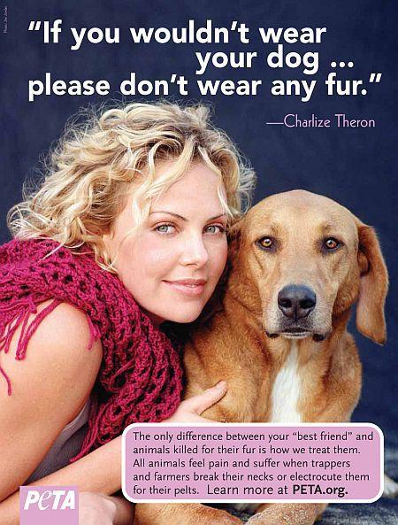 Шарлиз Терон и ее пес Такер в рекламной кампании PETA