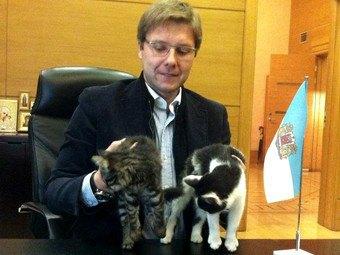 Рижский мэр официально представил котов в своем Twitter