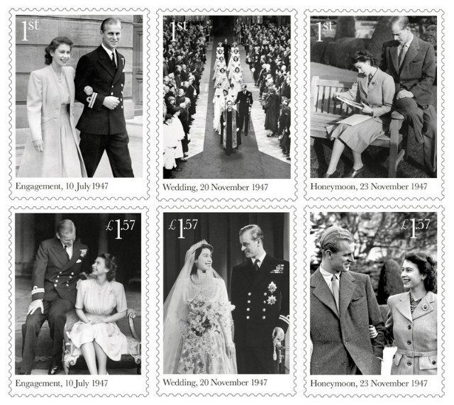 Серия марок, выпущенных к годовщине королевской свадьбы