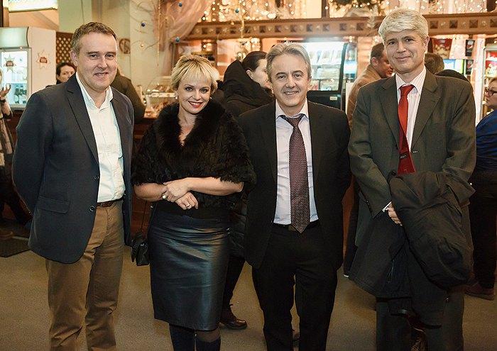 Актриса Ирма Витовская с Послом Швейцарии Гийомом Шойрером и Послом Бельгии Люком Якобсом