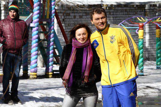 Анюта Славская и голкипер команды Шахтер Андрей Пятов