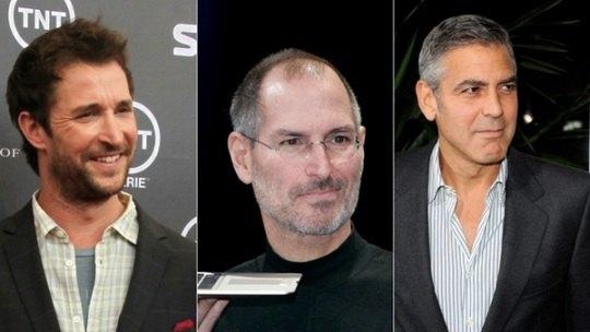 Слева направо: Ноа Уайли, Стив Джобс, Джордж Клуни