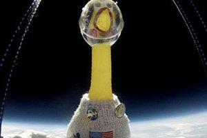 Резиновую курицу Камиллу отправили в стратосферу