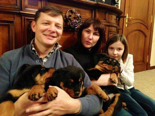 Олег Ляшко с семьей и щенками
