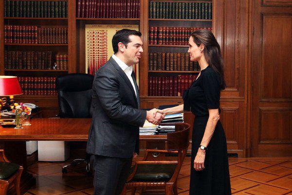 Премьер-министр Греции Алексис Ципрас и Анджелина Джоли