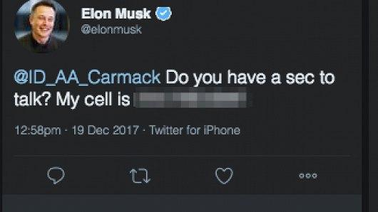 Скриншот поста, опубликованного Маском в Twitter
