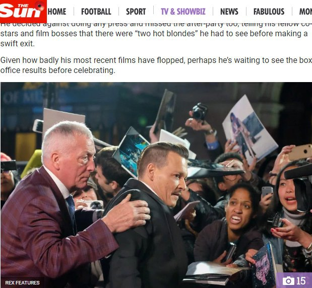 Джонни Депп едва держался на ногах на кинопремьере в Лондоне