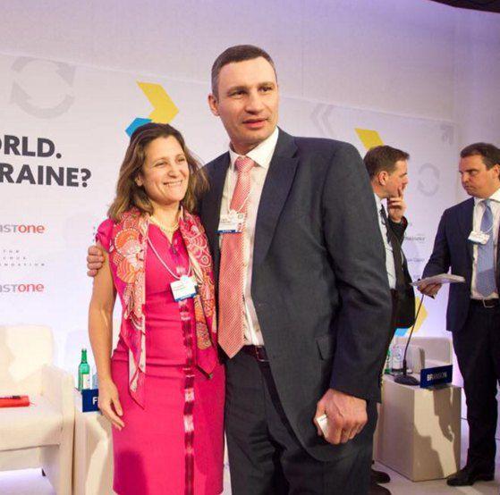 Мэр Киева Виталий Кличко и канадский министр Христя Фриланд