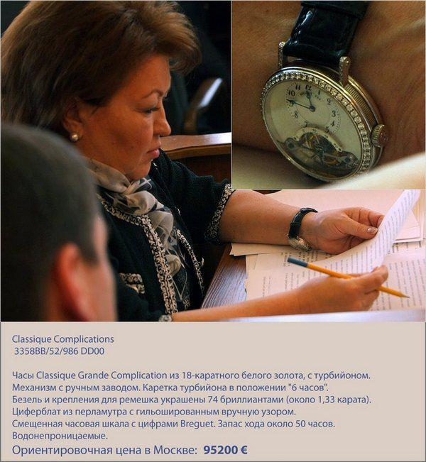 Татьяна Бахтеева перевернула часы, чтобы фотографы не могли их сфотографировать