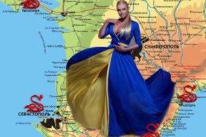 Волочкова в желто-синем платье призналась в любви Украине