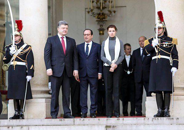 Петр Порошенко, Франсуа Олланд, Марина Порошенко